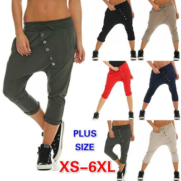e2415821cb7 Plus Size XS-6XL Women s Fashion Boyfriend Capri Pants Casual Chino ...
