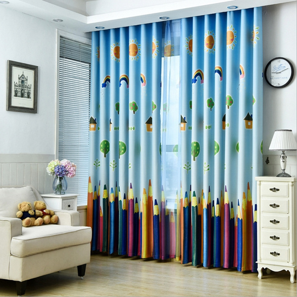 New Curtains Blackout Curtain Fabric Pencil Pattern Boys Girls Kids Room  Curtains Bedroom Curtains Full Light Shading