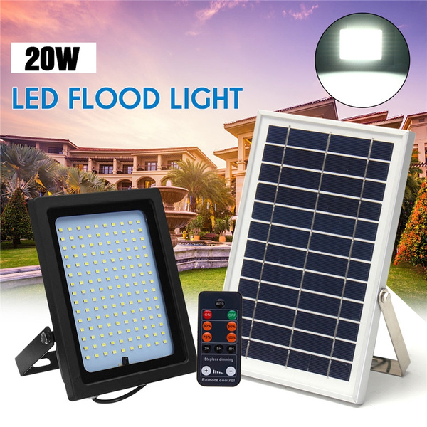 Auto On Off Solar Flood Light Outdoor Remote Controller Control 20w 150led Spotlight Waterproof Ip65 Security Wall For