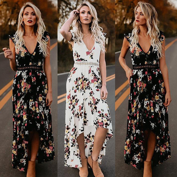 Original Kauf Genießen Sie kostenlosen Versand hübsch und bunt Damen Sommer Boho Maxi Kleid Abend Cocktail Party Strand Kleider Sommerkleid