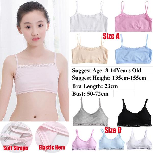 Girls Cotton Training Bra Teenage Kids Soft Breathable Sport Underwear Clothing