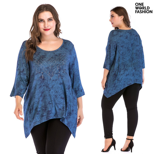 ONE WORLD Womens Fashion Loose Tops Plus Size Spring and Summer Casual  Blouse Diamond Printed Shirts