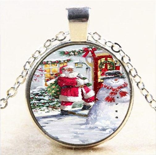 Father Christmas Photo Cabochon Glass Black Chain Pendant Necklace