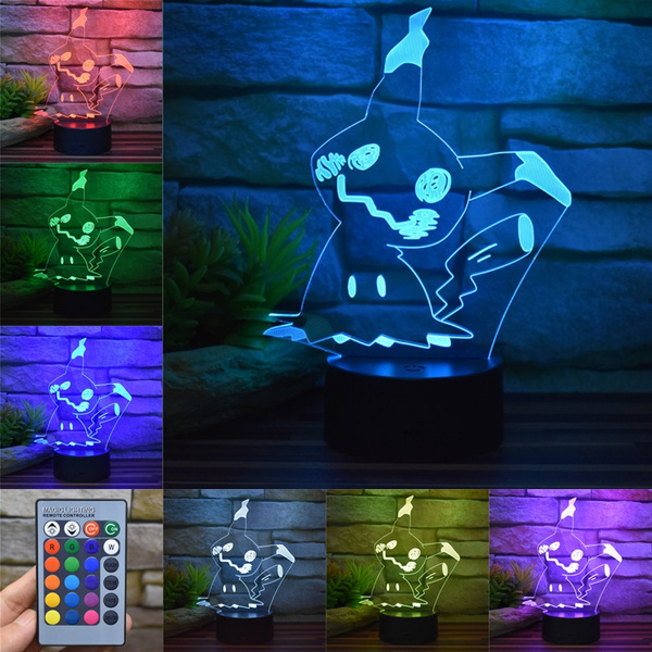 Cartoon Pokemon Mimikyu Touch / Remote Control 3D Acrylic LED Night Light  USB Colorful Decor Table Lamp Children's Bedroom Toy Gift