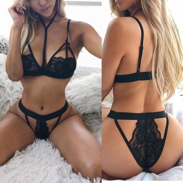 Unterwäsche & Schlafanzug Frauen Sexy Dessous Spitze Babydoll Tops G-string Tanga Unterwäsche Nachtwäsche Set