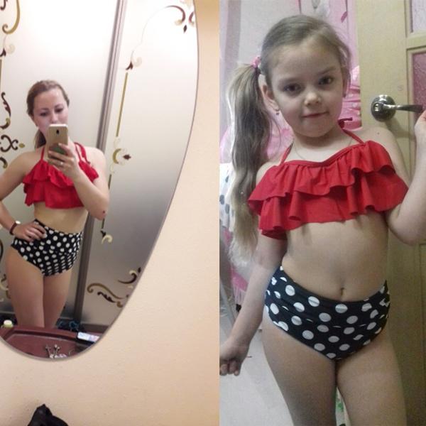 Family Matching Women Kid Baby Girls Beach Bikini Bathing Suit Swimwear Swimsuit
