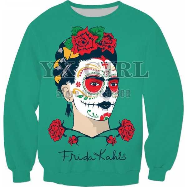 440b4cc7b Harajuku Sweatshirt Women Men 3d print Pullovers Frida Kahlo Sugar Skull  hoodies Brand Clothing size S-5XL