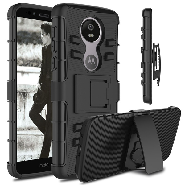super popular f6ef5 85b15 Rugged Hybrid Shell With Belt Clip Holster Hard Armor Cover Case For  Motorola Moto Z4 Play / G7 / One Power (P30 Note) / One (P30 Play) / E5  Play Go / ...