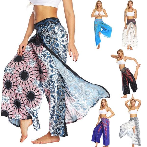 2a5653ca41ef6 High Quality Yoga Pants Dress Harem Feather Printed Women Gym ...