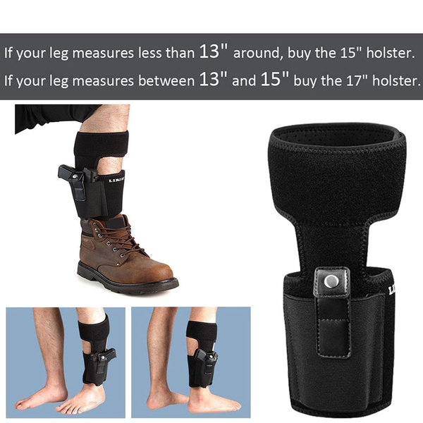 LIRISY Ankle Holster for Concealed Carry   Non-Slip with Calf Strap Holster  Fits Glock 42, 43, 36, 26, Smith and Wesson Bodyguard  380 38, Ruger LCP,