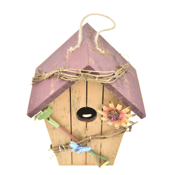 Wish | Vintage Outdoor Chickadee Bird House Nest Bed Hanging Wooden Bird Cage Bird Nesting Box birdhouse- Garden Home Patio Decor