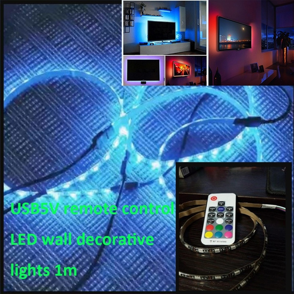 LED Wall Decorative Lights with TV Background Wall Light Strip Chassis DIY  Lights with USB 5V Remote Control RGB Voice-activated Lights