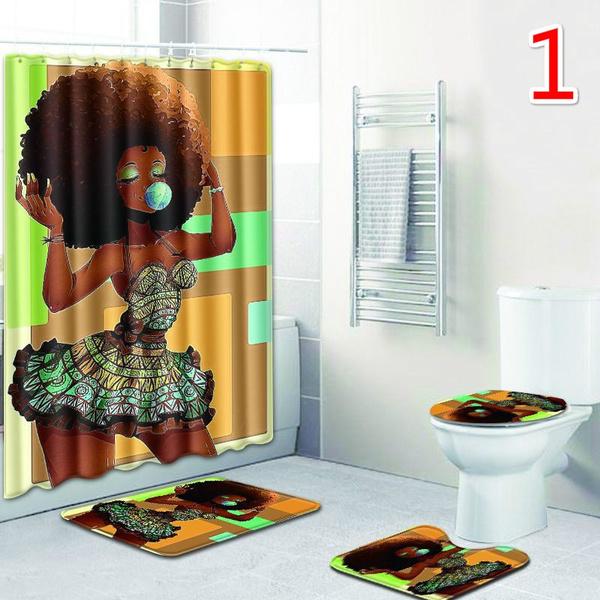 Wish   New African American Shower Cutain+Bath Mat Set  Woman Abstract Print Waterproof Mildew Resistant Fabric Polyester Bath Curtain for Hip Pop Art Bathroom Decor