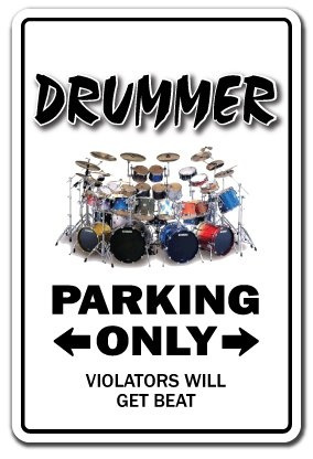 Wish | DRUMMER Novelty Sign drum set funny instrument gift music sticks cymbals hi hat