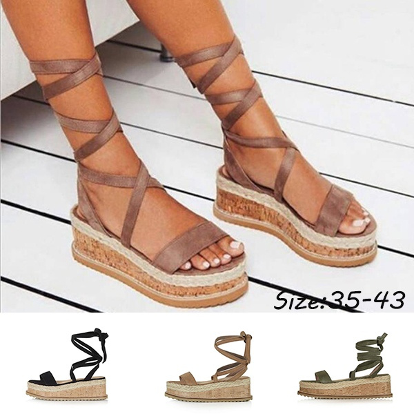 989985b66e2 IMKKG Summer White Wedge Espadrilles Women Sandals Open Toe Gladiator  Sandals Women Casual Lace Up Women Platform Sandal