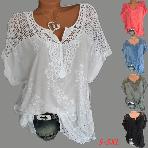 blouse, Summer, Plus Size, Lace