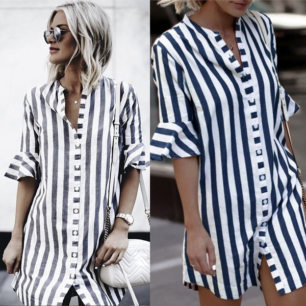 Resultado de imagen para Women Casual Striped Button Shirt Dress