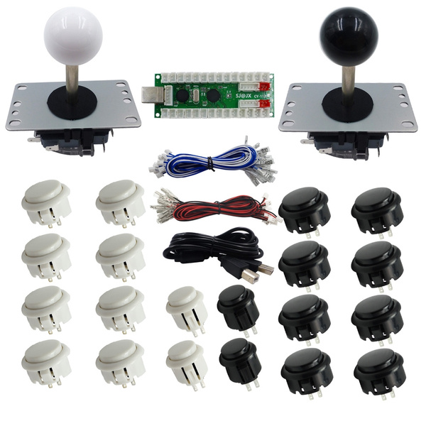 SJ@JX Raspberry Pi Arcade Game Arcade DIY Kit Suit Retropie Black And White  5 Pin Joystick Button And Joysticks PC MAME 2 Player Arcade Controller