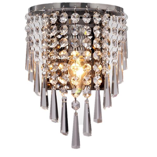Modern Chrome Golden Led Crystal Wall Lamp Lights Luminaria Home Lighting Living Room E14 Light Lampshade For Bathroom Indoor Sconce