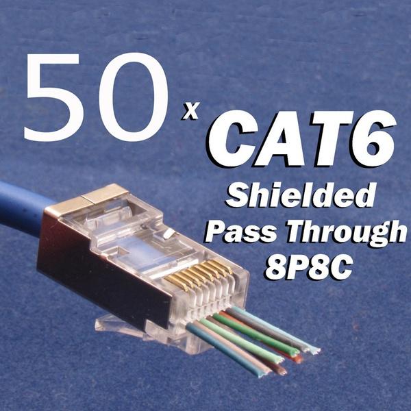 CAT6 Plug EZ RJ45 Network Cable Modular 8P8C Connector End Pass Through 100pcs