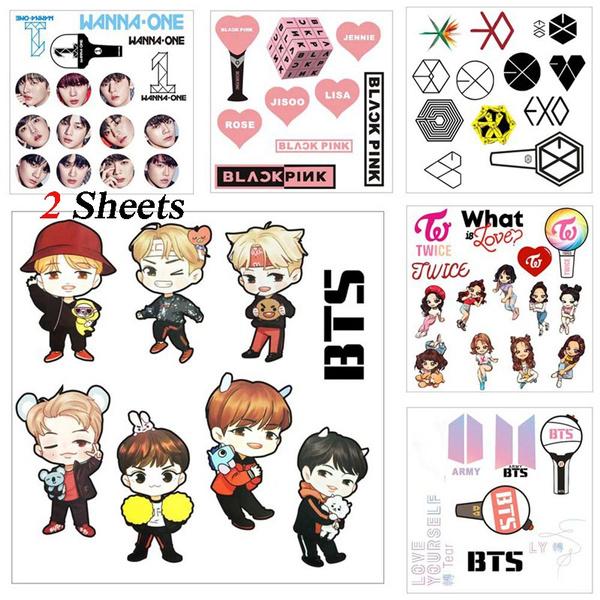 2 Sheets Bts Twice Wanna Exo Cartoon Stickers Cute Mobile Phone