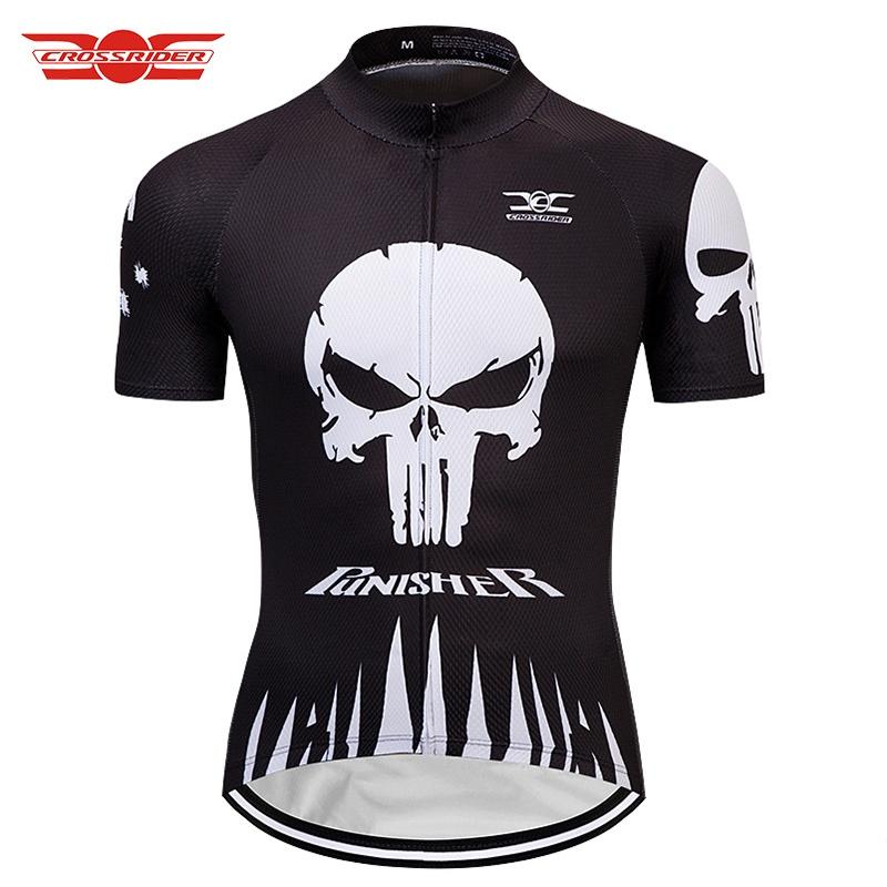 Crossrider 2018 PUNISHER SKULL Cycling Jerseys Mtb Bicycle Clothing ... 66e63f8fc