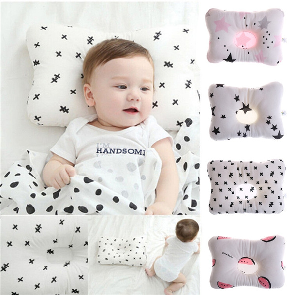 Newborn Infant Baby Pillow Prevent Anti Roll Flat Head Neck