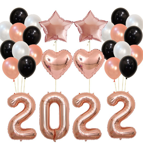 2020 Graduation Decorations.40 Inch Rose Gold Black Gold 2020 Number Foil Balloons Confetti Balloons Latex Balloons 24 Count 2020 New Year Eve Festival Party Supplies