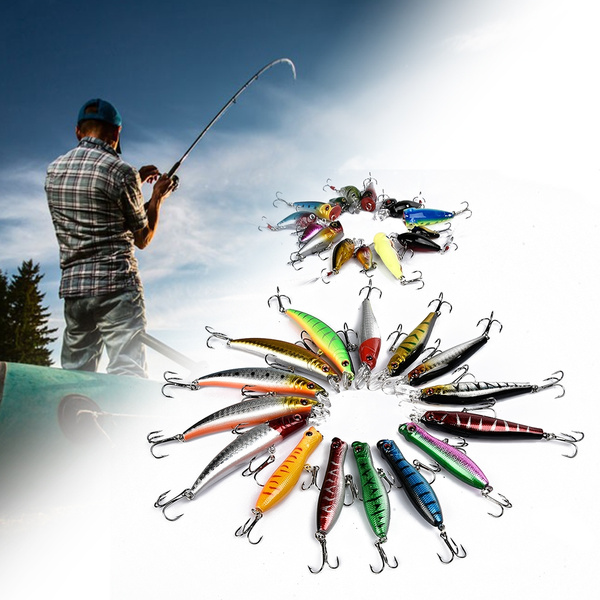 20/30 PCS Fishing Lures Crankbaits Treble Hooks Minnow Baits Tackle Bass  Minnow