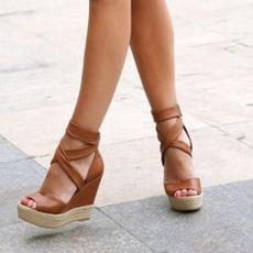 Summer, Plus Size, Platform Shoes, wedge