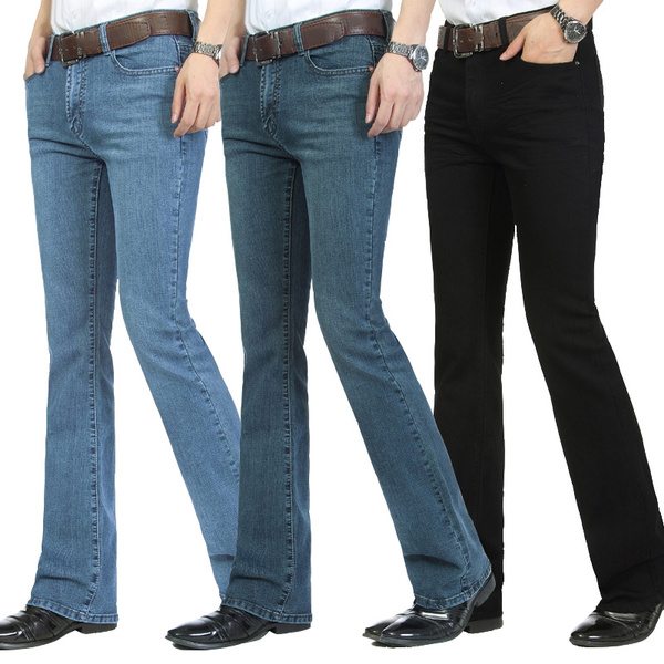 Men S Business Casual Jeans Male Mid Waist Elastic Slim Boot Cut Semi Flared Four Seasons Bell Bottom Jeans 27 36