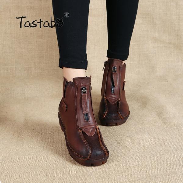 c2ddd93537d91 Tastabo Genuine Leather Ankle Boots Velvet Handmade Lady Soft Flat ...