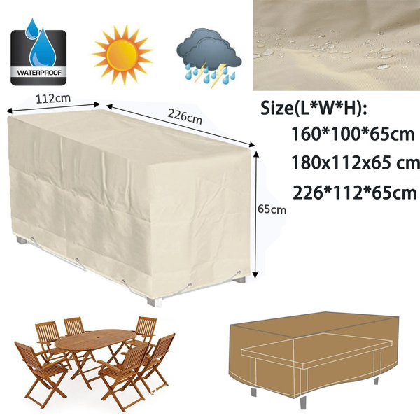 Outdoor Waterproof Patio Coffee Table Cover Garden Outdoor Furniture Protective Cover Table Cloth Beige Color Fr