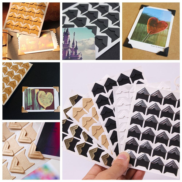 Decor Handicraft Self-Adhesive Picture Frame Paper Corner Sticker Photo Albums