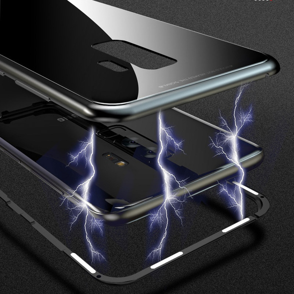 premium selection 3d9e5 adf9c Magnetic Adsorption Flip Case for Samsung Galaxy S9 S9 Plus S8 S8 Plus  Coque for Huawei P20 P20 Pro iPhone X 8 7 Plus Tempered Glass Back Cover  Luxury ...