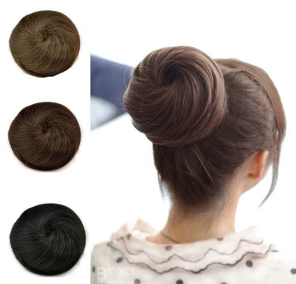 Wish 3 Colors Women Girls Hair Extensions Bun Updo Clip On