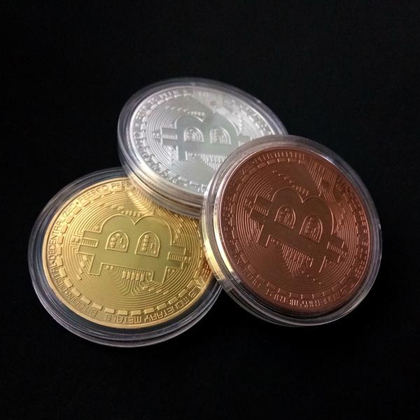 Gold Bitcoin Commemorative Round Collectors Coin Bit Coin 1pcs