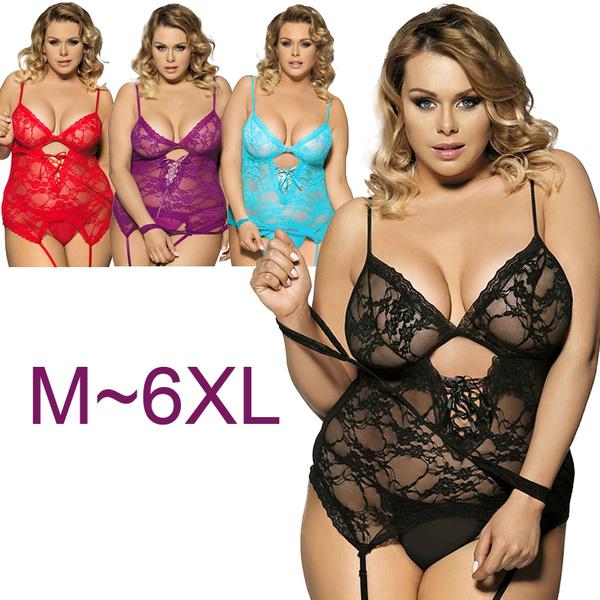 5181e1f4c 5 Colors Lace Teddy with Handcuff Women Plus Size Lingerie Sleepwear ...