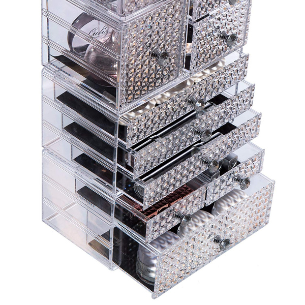 fe4bc8084906 Cq acrylic Large 8 Tier Clear Acrylic Cosmetic Makeup Storage Cube  Organizer with 9 Drawers. It Consists of 4 Separate Organizers, Each of  Which Can ...