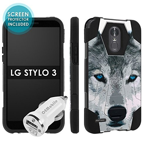 premium selection c1f76 a8c68 LG Stylo 3 [Skinguardz] [Black/Black] Military Armor Case [KickStand]  [Screen Protector] [Car Charger] - [Wolf] for LG Stylo 3