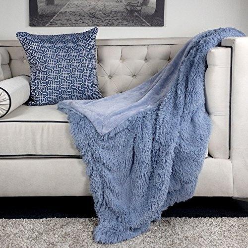 Excellent Homey Cozy Faux Fur And Flannel Baby Blue Throw Blanket Super Soft Shaggy Fleece Fuzzy Lightweight Wool Plush Blanket For Sofa Couch Decorative Inzonedesignstudio Interior Chair Design Inzonedesignstudiocom