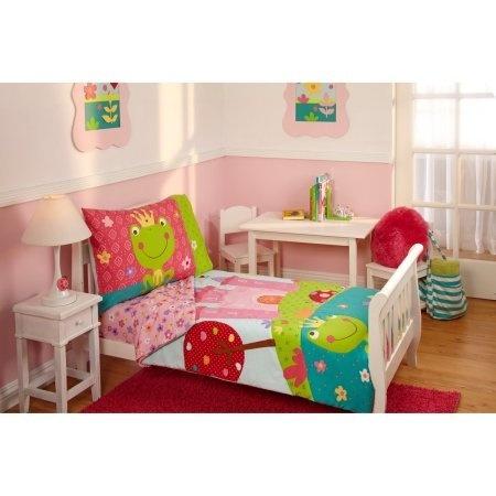 TL 4 Piece Kids Girls Pink White Fairy Tale Toddler Bed Set, Green Teal  Fairytale Bedding Motif Floral Comforter Prince Princess Frog Pattern  Sheets ...