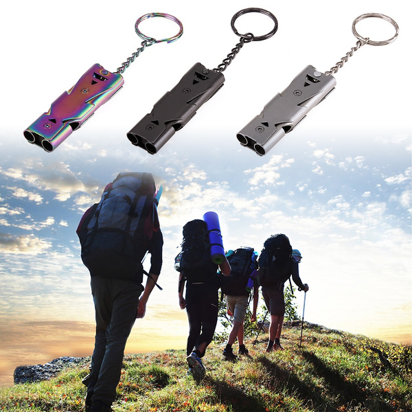 Home 150db Double Pipe Whistle High Decibel Stainless Steel Outdoor Emergency Survival Whistle Keychain Cheerleading Whistle