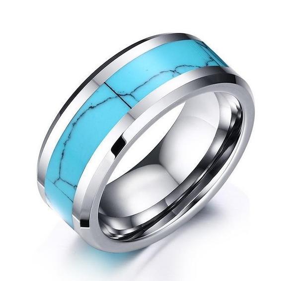 8MM, Turquoise, bandring, wedding ring