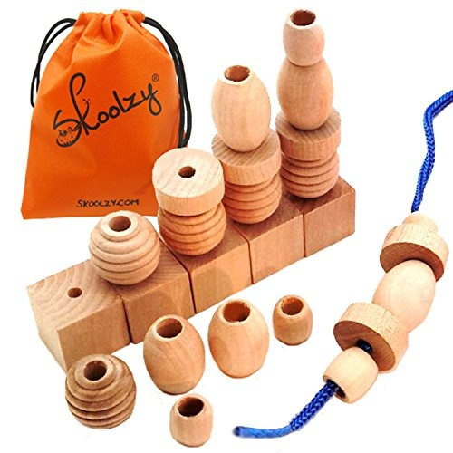 Skoolzy Wood Lacing Beads For Kids 25 Natural Wooden Beads Materials Shape Sorting Montessori Toys For Toddlers Learning Activities Waldorf