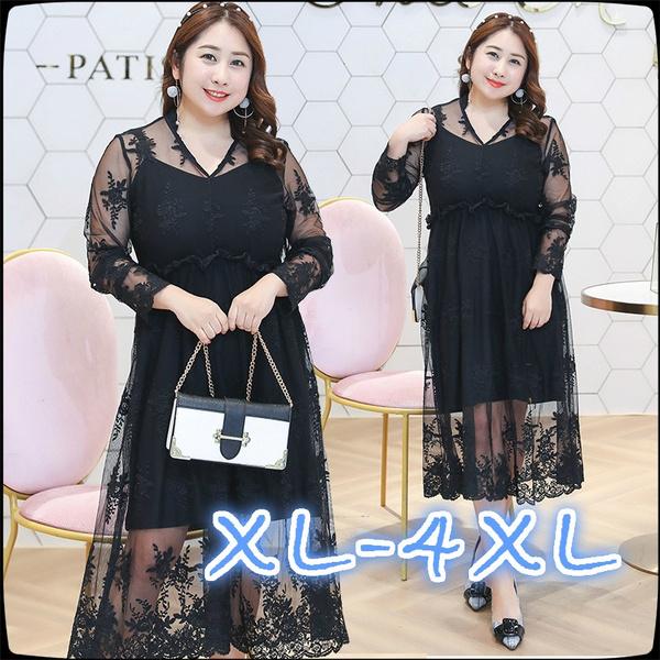 776c2faa6bcc6 2018 Spring Lace Lady Dress Fat Mm Big Size Women's Dress Black Dress Skirt  Plus Size Dress Dresses Plus Size Prom Dress Sexy Dresses for Woman ...