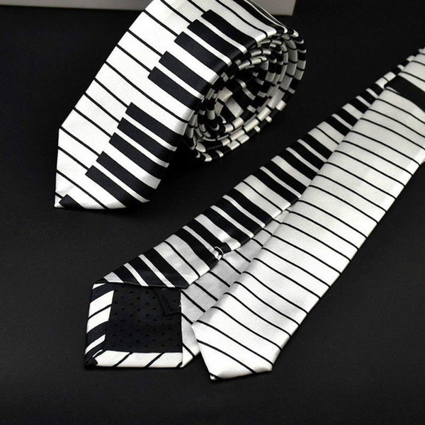 For Men Fashion Black /& White Music Tie Skinny Tie Piano Keyboard Necktie