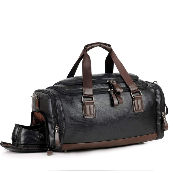 Men Gym Bag Leather Travel Weekender Overnight Duffel Bag Sports Luggage Tote Duffle