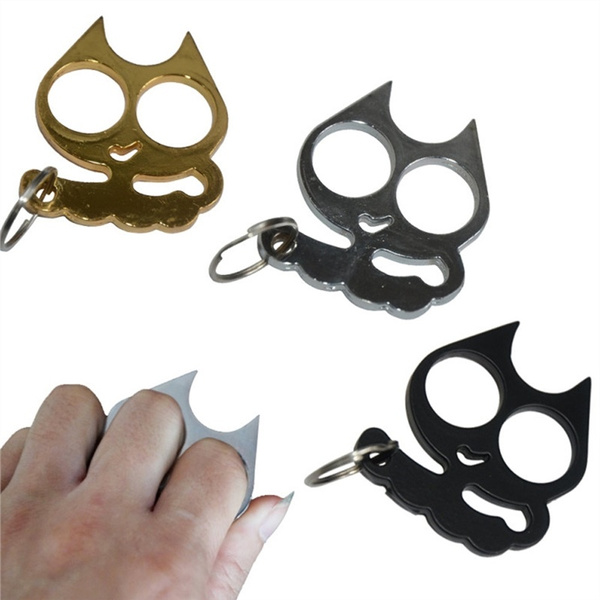 Two Finger Buckle Metal Cat Self Defense Tools Portable Key Chain