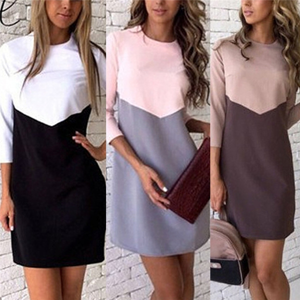 28473ad8611 Womens Fashion Spring Casual One Piece Dress Splicing Loose Dress Office  Dresses Beautiful
